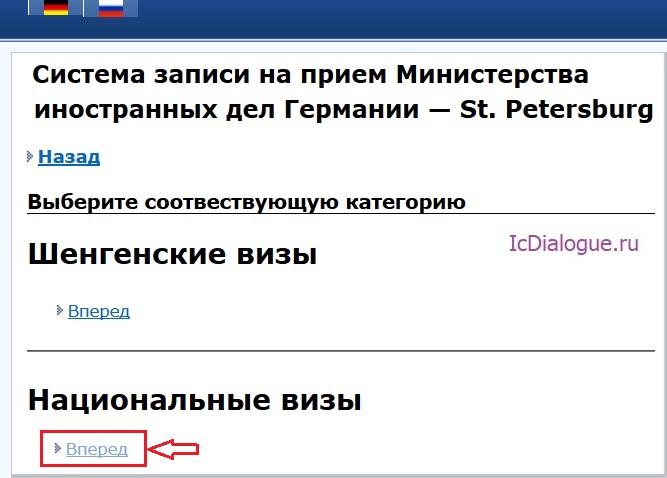национальная виза в консульстве Германии СПб